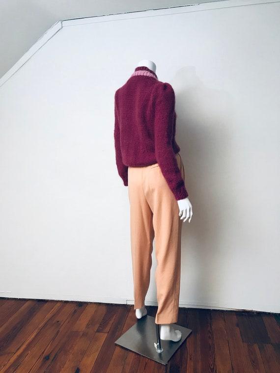 80s hand knit deep mauve puff sleeve sweater, SZ … - image 7