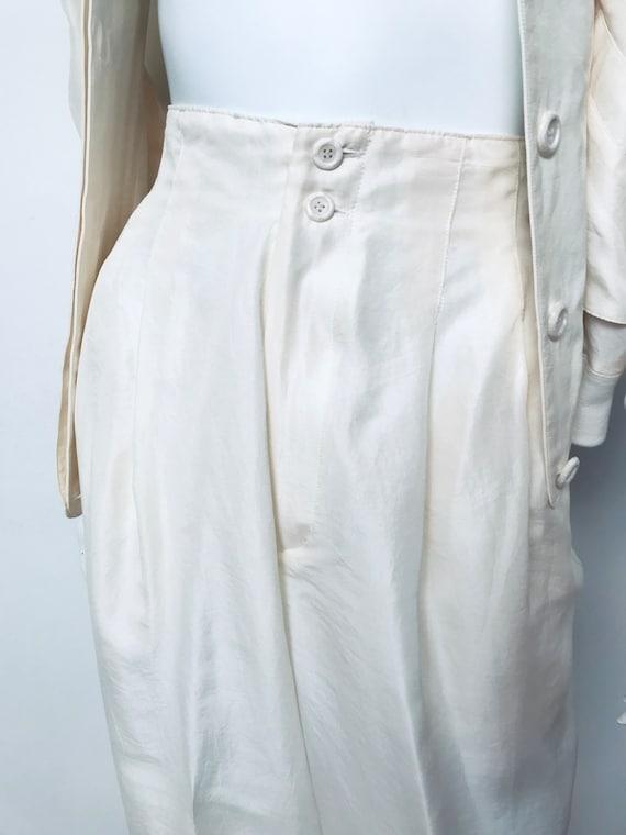 80s champagne silk track suit, SZ M/L - image 6