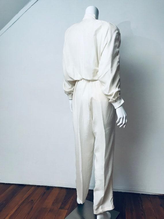 80s champagne silk track suit, SZ M/L - image 8