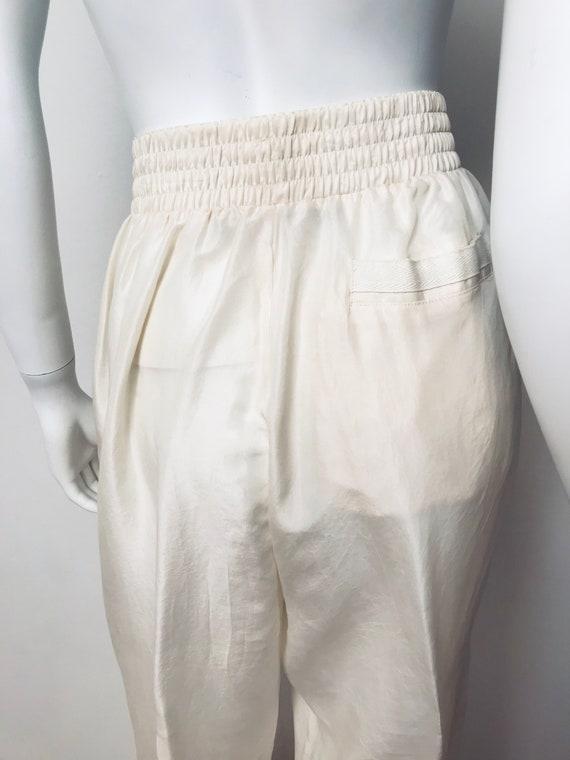 80s champagne silk track suit, SZ M/L - image 7
