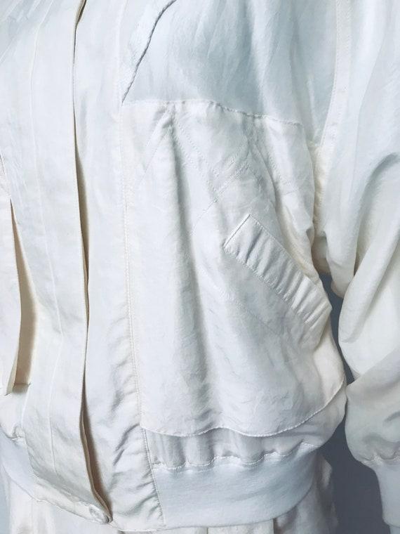 80s champagne silk track suit, SZ M/L - image 10