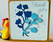 Handmade floral thank you card.