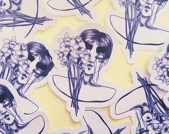 Sticker of a female bust with flowers, black and white aesthetic, matte white paper sticker