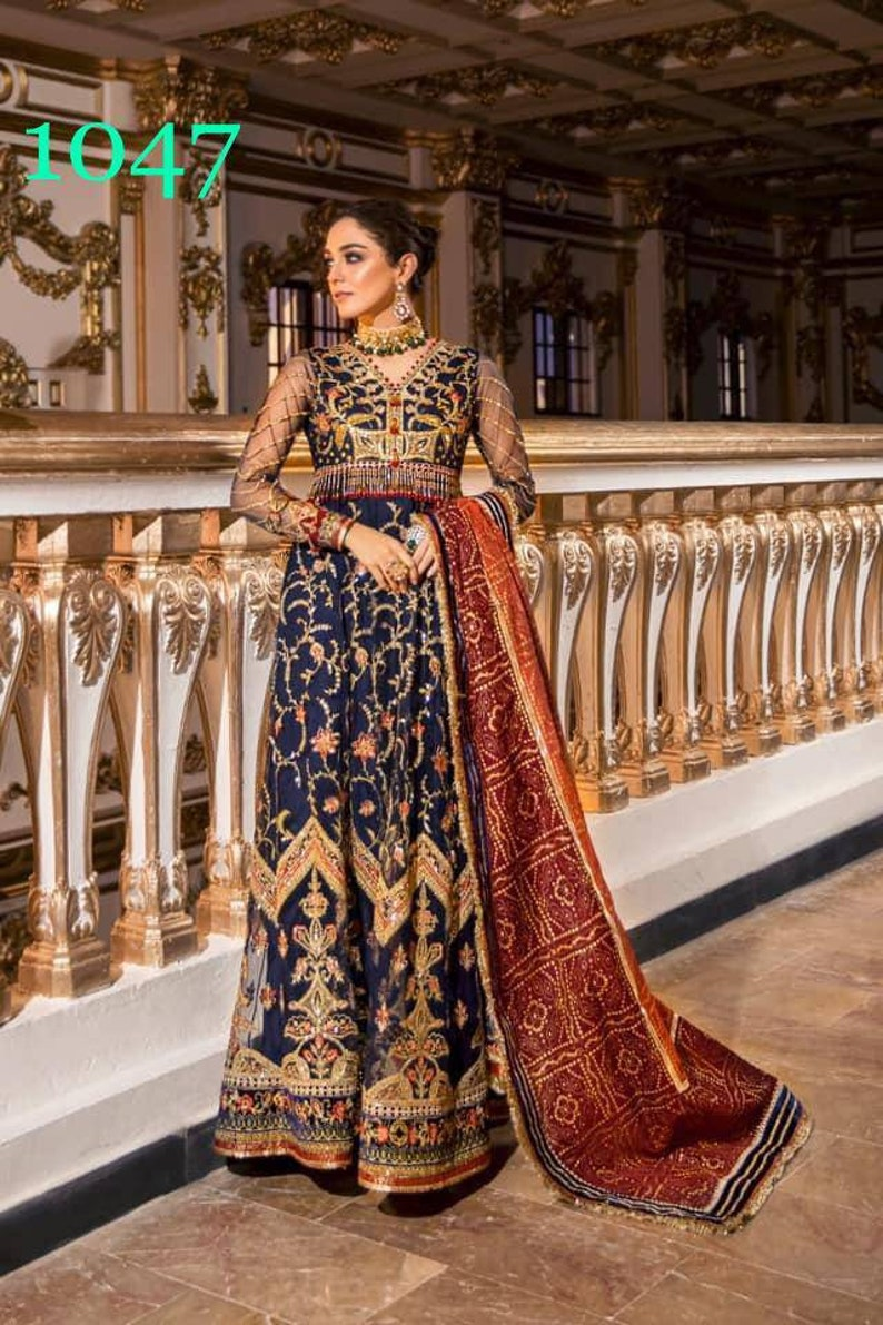 Pakistani salwar kameez chiffon net  embroidered dress made on custom order