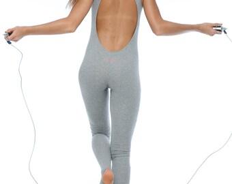 Yoga Jumpsuit green Organic bodysuit workout Sport suit woman size XXS-OX