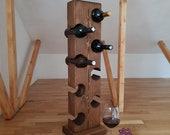 Free standing vertical wine rack for 8 bottles, Wooden wine rack, Wine shelf, wine bottle holder, wine stand, wine storage, wine display