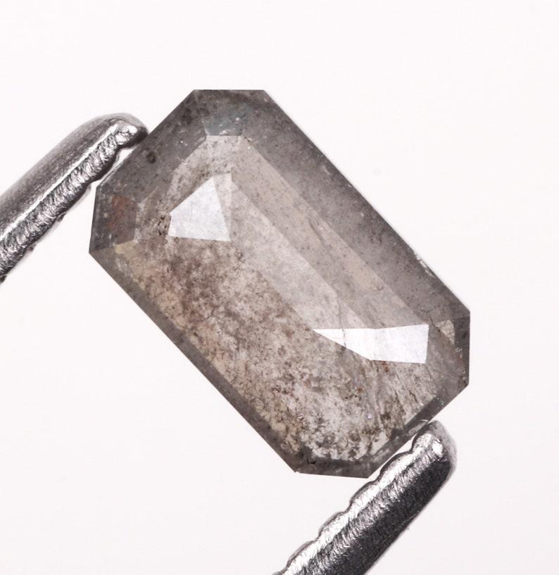 Engagement Ring Jewelry Diamond Best Price Diamond Salt And Pepper Diamond 6.0 X 3.6 MM 0.47 CT OM4531 Emerald Cut Minimal Diamond