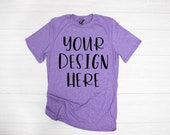 Anvil 980 Heather Purple Unisex T-Shirt Mockup - T-shirt mockup - shirt mockup - Anvil T-shirt Mockup - Anvil T-Shirt