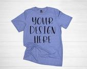 Anvil 980 Heather Blue Unisex t-shirt mockup - t-shirt mockup - anvil mockup - shirt mockup - anvil t-shirt