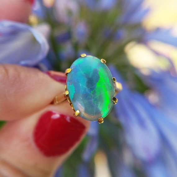 Victorian 18ct Gold Precious Opal Ring, Antique Bl