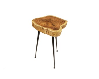 """Live Edge Stool/Side Table Made With Hand Selected Organic Brown Acacia Wood, 15""""X15""""X20"""""""