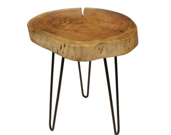"""Live Edge Side Table / Stool Made With Hand Selected Organic Brown Acacia Wood, 17""""X17""""X20"""""""