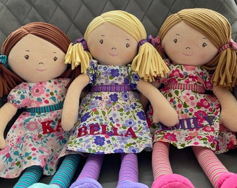 Personalised Rag Dolls Embroidered ,Bonikka Doll , Christmas Baby Gift Christening Personalized Doll Baby Birth Keepsake  Baby Shower