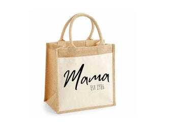 Personalised Jute Shopping Groceries Tote Handbag Supermarket Mothers Day Birthday Brown Bag Picnic Mummy Gift Present Special Resuable