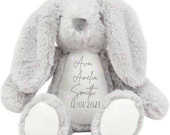 Personalised Bunny Teddy, New Baby Gift, Customised Plush Soft Toy, 1st Birthday Teddy, Cuddly Toy, Girls Boys Bunny Teddy,Baby Shower Gift