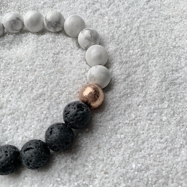 Calming Bracelet Black Lava 10mm Howlite Meteorite Duality Bracelet Yin Yang