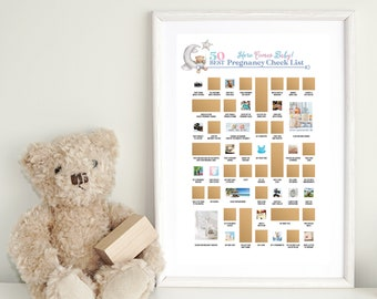 Baby Shower Scratch Off Poster - 50 things to do before your baby is born - Makes a great baby shower gift!