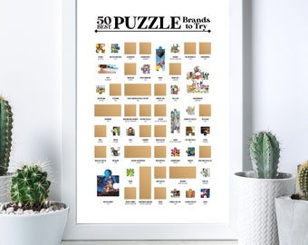 50 Best Puzzle Brands To Try Scratch Off Poster - The Jigsaw Puzzle Bucket List - The Best Gift for Puzzlers!
