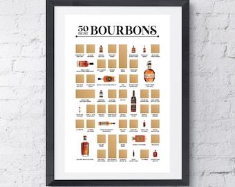 50 Best Bourbons Scratch Off Poster - The Bourbon Bucket List - The Best Gift for Bourbon Lovers!