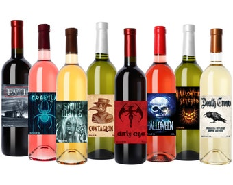 """Halloween Wine Bottle Labels - Set of 8 Halloween Wine Stickers - 5"""" x 3.75"""" - Halloween Decorations and Scary Party Favors"""