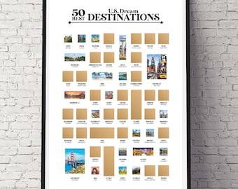 50 Best US Dream Destinations - The Travel Bucket List - The Best Gift for Travelers and Explorers!