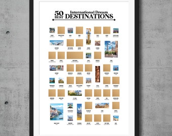 50 Best International Dream Destinations Scratch Off Poster - The Travel Bucket List - The Best Gift for Travelers and Wanderlust Souls!