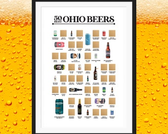 50 Best Ohio Beers Scratch Off Poster - The Scratch Off Beer Bucket List - The Best Gift for Beer Lovers