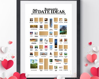 """50 Best Dates Scratch Off Poster - The Scratch Off Romantic Bucket List - A Great Anniversary, Birthday or """"Just Because"""" Gift!"""
