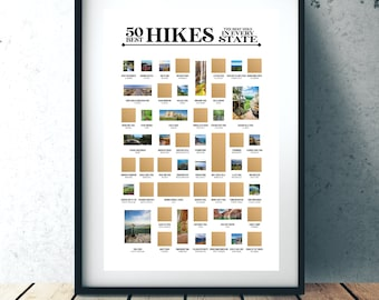 Gifts for Hikers! 50 Hikes Scratch Off Poster - The Best Hike In Every State