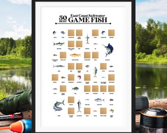 50 Best East Coast Saltwater Game Fish Scratch Off Poster - The Fishing Scratch Off Bucket List - The Best Gift for Fishermen!