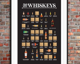 50 Best Whiskeys Scratch Off Poster - The Whiskey Bucket List - The Best Gift for Whiskey Lovers!