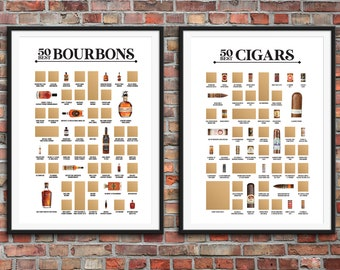 50 Best Bourbons Scratch Off Poster & 50 Best Cigars Scratch Off Poster - 2 Bucket List Posters for Bourbon and Cigar Lovers!