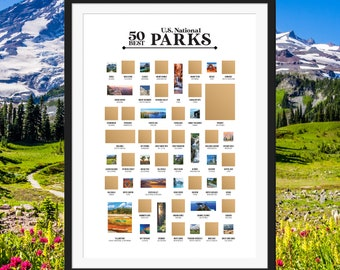 50 Best US National Parks Scratch Off Poster - The National Parks Bucket List - The Best Gift for Hikers, Campers & Explorers!