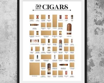 50 Best Cigars Scratch Off Poster - The Cigar Bucket List - Makes The Best Cigar Gift!
