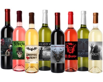 """Halloween Wine Labels for Bottles - Set of 8 Halloween Wine Stickers - 5"""" x 3.75"""" - Great for Halloween Decorations and Party Favors"""