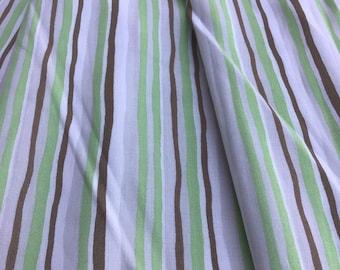Organic Green Stripe Organic Fabric Clothworks Woodland Gathering Y2064-23 Organic Cotton Green /& Brown Striped Quilt Fabric by the Yard