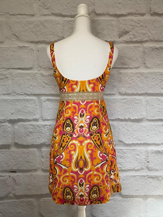 PAISLEY MINI DRESS Cool Mod Vtg Style - image 5