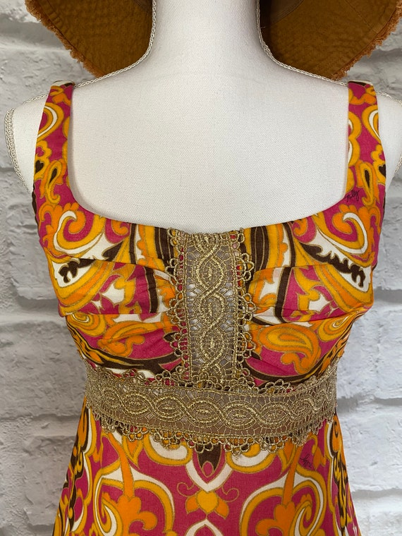PAISLEY MINI DRESS Cool Mod Vtg Style - image 3