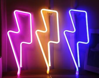 Lightning Bolt | Neon Light (LED), Sign Lights for Wall Mount Decoration, Pink, White, Blue Decor, Thunder Lamp, Bedroom Decoration, Bright