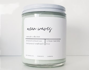 Mothers Day Gifts Vegan Minimalist 8 Ounce Decor Personalized Candles Light Mint Soy Wax Ocean Waves Candle White