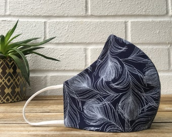 Face Mask, Triple layer, Cotton, Nose Bridge, Washable, Blue, Feather print, Reusable, Close fit, Face covering, Handmade