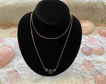 Malachite and Obsidian Necklace and Earring Set