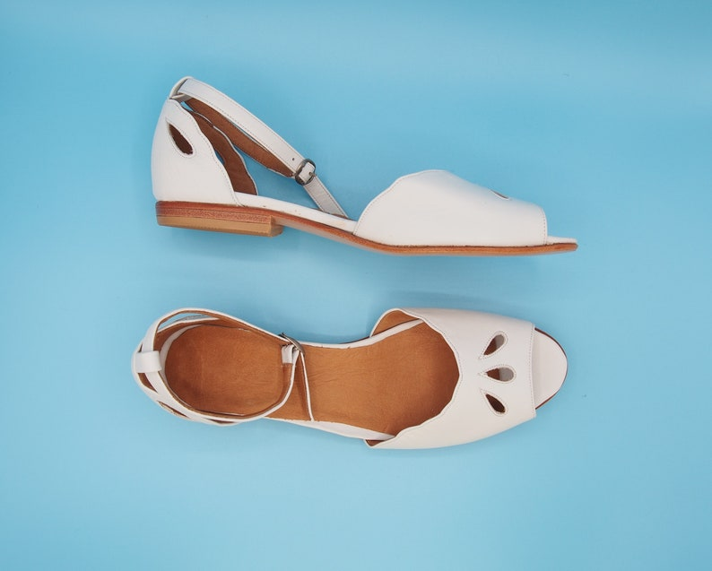 Retro Vintage Flats and Low Heel Shoes Emilia- leather sandal handmade women shoes summer flats shoes white leather sandal unique and vintage shoes. $150.00 AT vintagedancer.com
