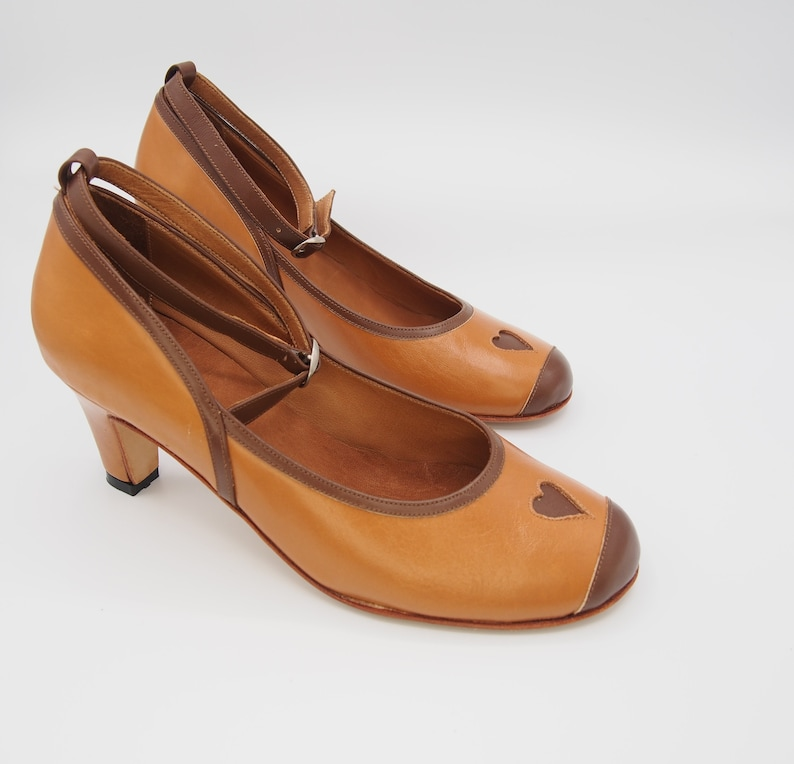 1950s Shoe Styles: Heels, Flats, Sandals, Saddle Shoes Pumps Lena in brown leather high heels comfortable women shoes handmade in Argentina $120.00 AT vintagedancer.com