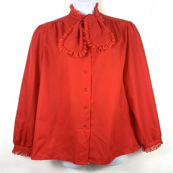Vintage Rhapsody Blouse Tie Neck Red Lace Button U