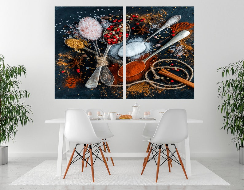 Spices canvas print World Map Spices Wall Art Kitchen decor Kitchen Dining Room Decor Extra Large Wall Art Split Canvas