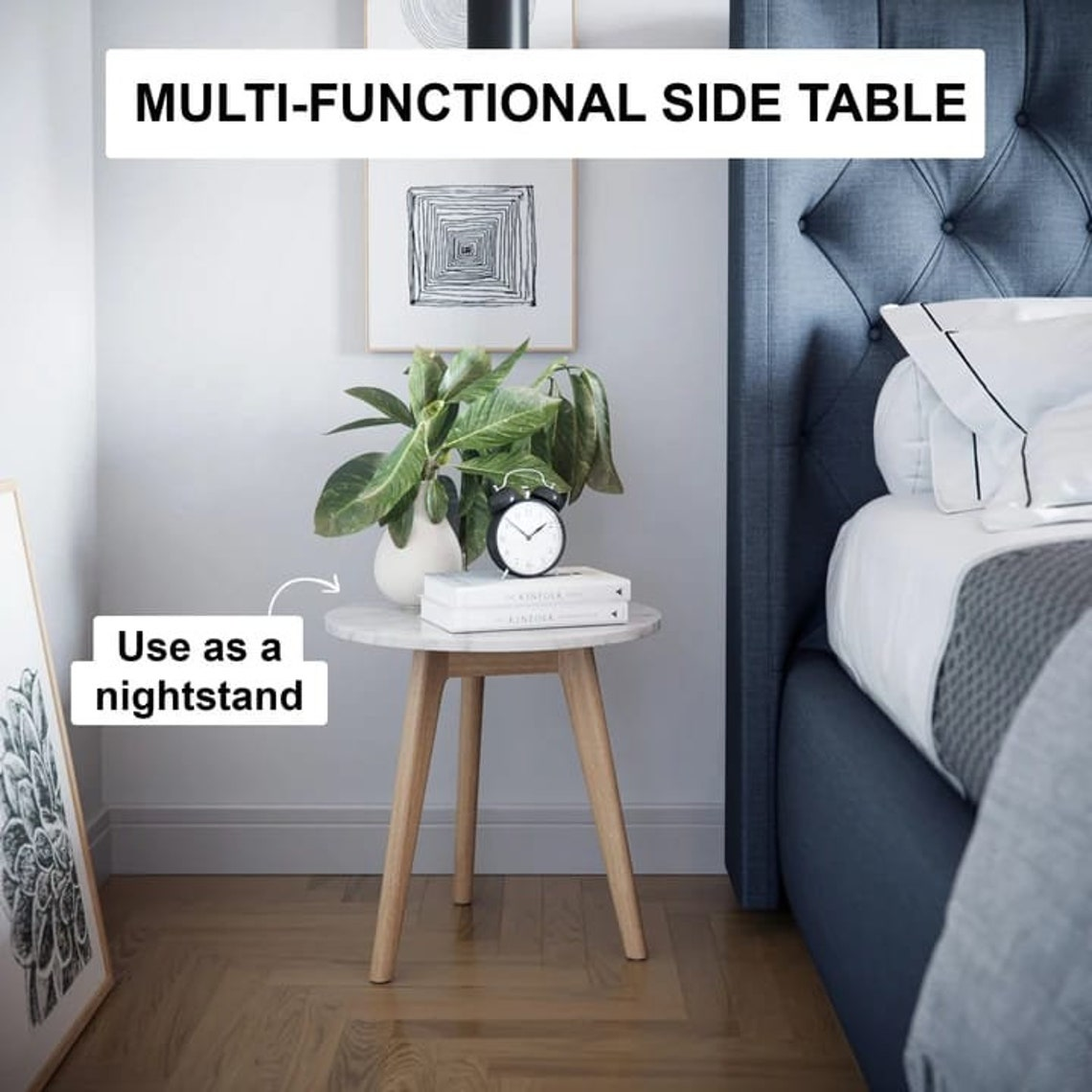 Mid Century Side Table - Multi-Functional Side Table - Solid Wood