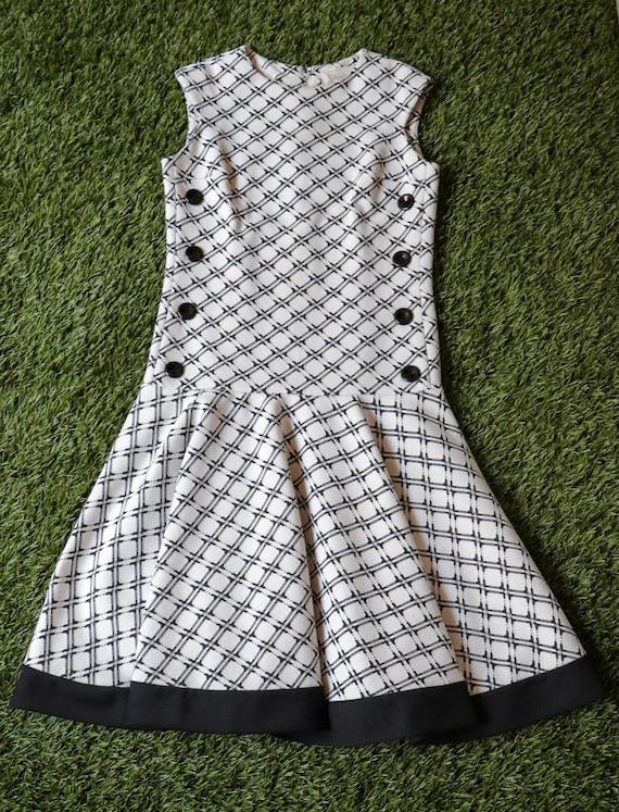 60's/70's Nardis Of Dallas Drop Waist Dress B&W