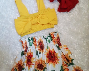 Little Miss Sunshine 3 PIECES Sunflower baby Outfit. SUNFLOWERS Strapless Baby Top Easter Outfit All Sizes Spring Skirt set