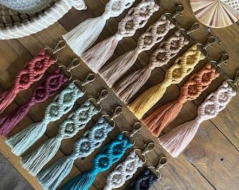 Wristlet Macrame Key Chain Clip swivel fiber art bohemian boho accessories bridesmaid gift for her lanyard purse bag arm wrist wrap loop